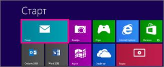 """началната страница на windows 8 показва плочката """"поща"""""""