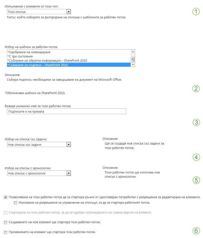 Първата страница на формуляра за свързване за един-единствен списък или библиотека