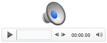Иконата за аудио и контроли за възпроизвеждане в PowerPoint for Mac 2011