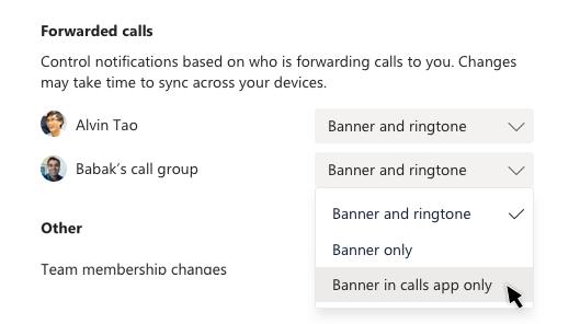 """Избиране на банер в приложението за обаждания само за препратени повиквания на Алвин Тао в """"Настройки"""""""
