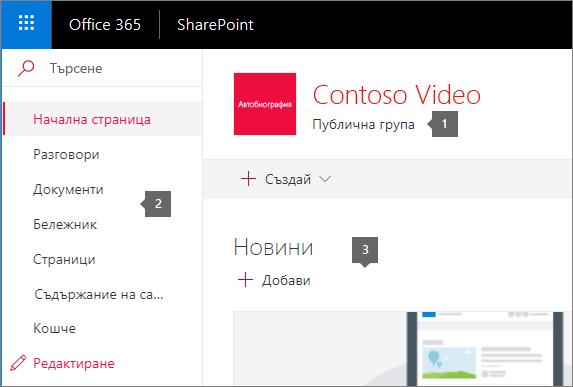 Начална страница на SharePoint екипен сайт