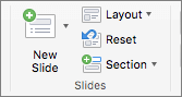 """Екранна снимка показва групата """"Слайдове"""" с опциите за нов слайд, оформление, начално състояние и раздел."""