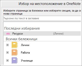 Екранна снимка на прозореца на OneNote, където можете да изберете на коя страница да си водите бележки за Skype.