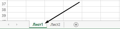 Разделите на работната книга на Excel са в долната част на прозореца на Excel.
