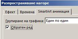 """Част от раздела """"SmartArt анимация"""", показващ квадратчето за отметка """"Обратен ред"""""""
