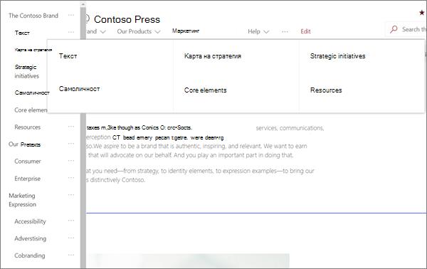 Пример за MegaMenu навигация за сайт на модерен Бранд в SharePoint online