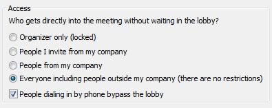 Опции за достъп до събрание на Lync