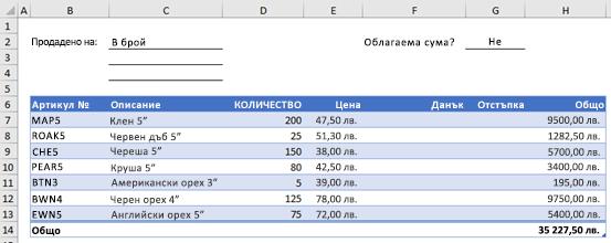 Пример за формуляр за поръчка без потребителска функция