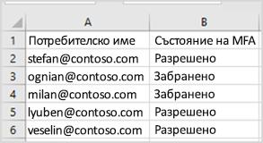 групово актуализиране – примерен CSV файл
