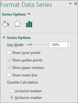 """Прозорец на задачите """"Форматиране на серия от данни"""", показващ опции на диаграма с кутийки в Office 2016 за Windows"""