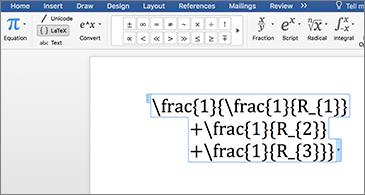 Документ на Word, който включва LaTex уравнение