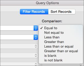 Щракнете върху опциите за сравнение, които искате да зададете