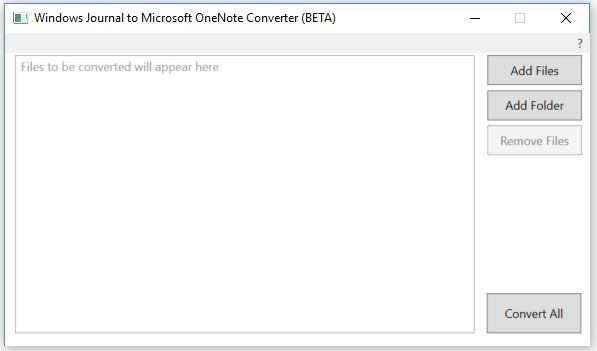 the screenshot of OneNote Converter (BETA) interface