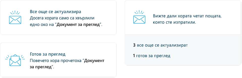 Екранна снимка на MyAnalytics имейл статистика