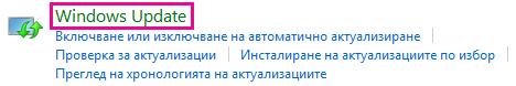 Връзка към Windows Update на Windows 8 в контролния панел