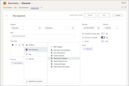 Избиране на страница на бележник на класа на OneNote, за да прикачите към възложена задача в Microsoft Teams