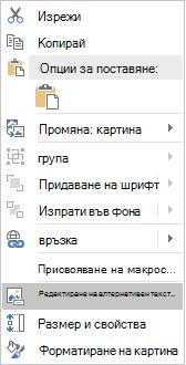 Меню за редактиране на алтернативен текст за изображения на Excel Win32