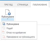 Снимка на екрана на раздела ''Публикуване'', който съдържа бутони за публикуване, отмяна на публикуването и подаване за одобрение на страница за публикуване