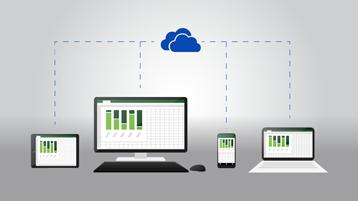 Таблет, настолен компютър, телефон и преносим компютър – всички показващи един и същ документ на Excel и свързани към емблемата на OneDrive