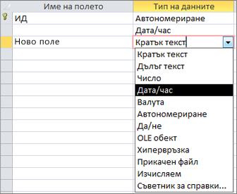 добавяне на поле за дата и час в изглед за проектиране