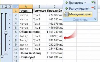 """Командата """"Междинна сума"""" групира данните в структура"""