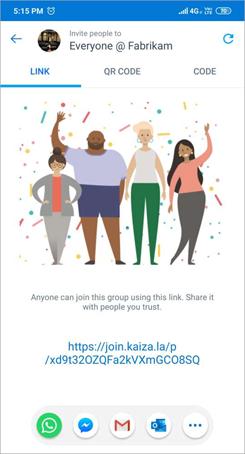 Екранна снимка на страницата с връзки за Поканване в Kaizala