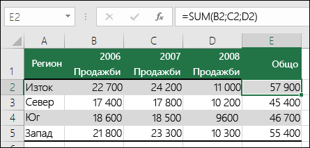 Формула, която използва явни препратки към клетка, като напр. =SUM(B2;C2;D2), може да доведе до грешка #REF!, ако колона е изтрита.