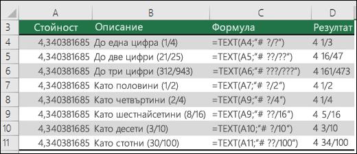Кодове за форматиране за дроби