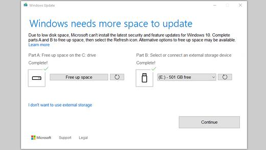 Windows се нуждае от повече пространство за актуализиране на съобщения