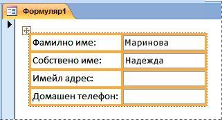 Полета, които се съдържат във вертикално оформление на формуляр