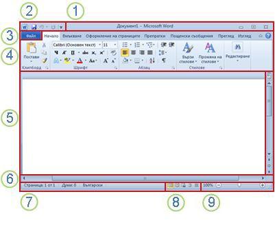 Елементи на прозореца на Word