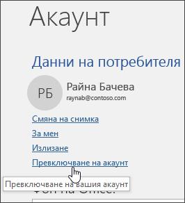 """Екранна снимка, показваща как да превключвате между акаунти в информацията в """"Акаунт"""""""