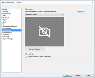 Настройки за видео устройство, Изрежи и Центрирай моето видео на събрания отметнете квадратчето