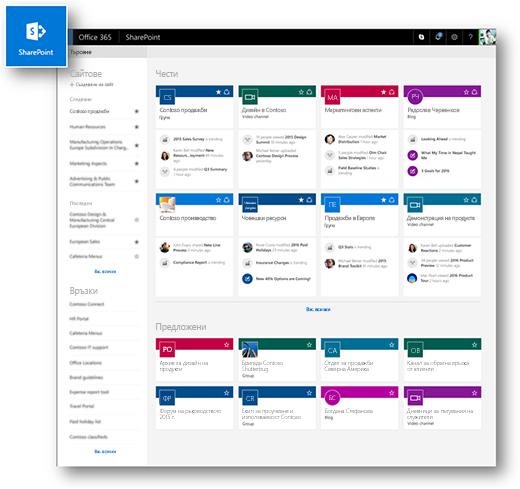 Модерен начална страница на SharePoint Online
