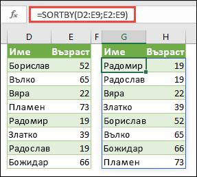Използвайте SORTBY, за да сортирате диапазон. В този случай използвахме =SORTBY(D2:E9;E2:E9), за да сортираме списък с имена на хора по тяхната възраст във възходящ ред.