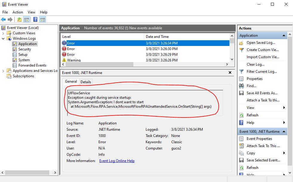 Регистрационни файлове на визуализатора на събития