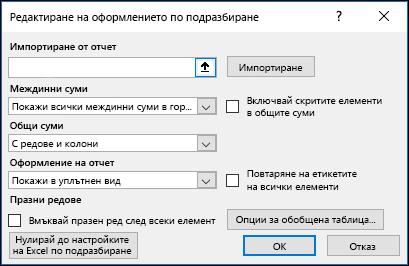 Опции по подразбиране за обобщена таблица