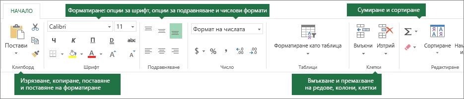 """Раздел """"Начало"""" с бутони за изрязване, копиране, поставяне, поставяне на форматиране; опции за форматиране като шрифт, подравняване и числови формати; вмъкване на редове/колони; сумиране и сортиране"""