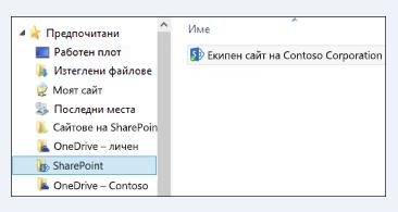 """намиране на синхронизирани библиотеки на сайт в папката на sharepoint под """"предпочитани"""""""