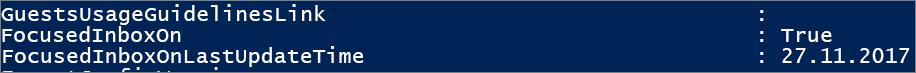 """Отговор от PowerShell за състоянието на """"Фокусирани входящи""""."""