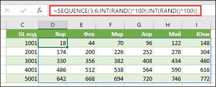 Пример за SEQUENCE с вложени INT и RAND, за да се създаде примерен набор от данни