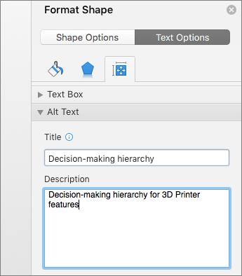 Екранна снимка на областта на алтернативен текст на екрана за форматиране на фигура, който описва избраната графика SmartArt