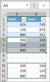 Поставяне на данни под таблицата разширява таблицата, за да ги включи