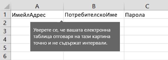 Заглавия на клетките във файла за мигриране на Excel