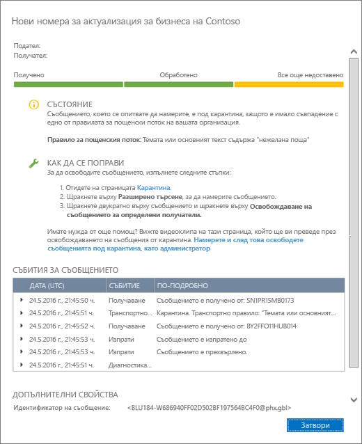 Екранна снимка на страницата с подробни данни от проследяването на съобщения, показваща пример как изглеждат подробните данни за проследяване на съобщение.