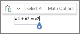 Показване на математически опции за уравнения