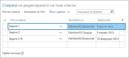 Изглед на лист с данни