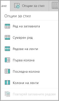 Windows Mobile опции за стил на таблица