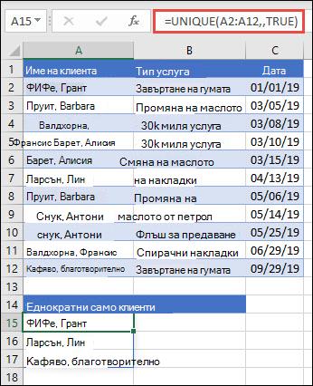 """Използване на уникални с аргумента """"occurs_once"""", зададен като """"TRUE"""", за да се върне списък с имена, които възникват само веднъж."""