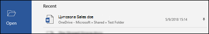 """Секцията """"Последни файлове"""" на екрана на Word"""